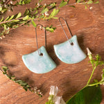 Celadon Bloom Fan Shape Porcelain Dangle Earrings