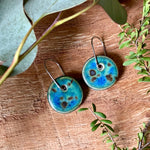 Midnight Rain Round Porcelain Dangle Earrings