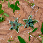 Olive Float Jasmine Flower Porcelain Dangle Earrings