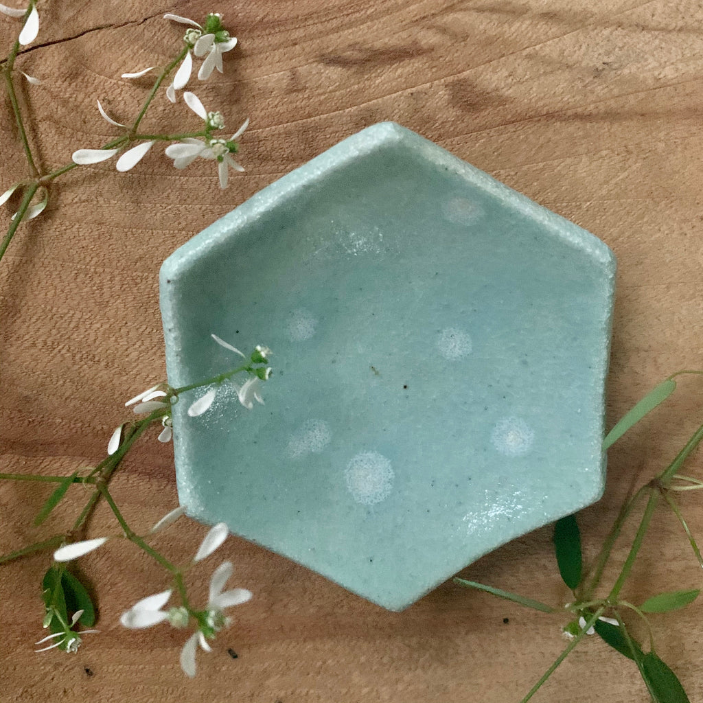 Celadon Bloom Hexagon Bowl