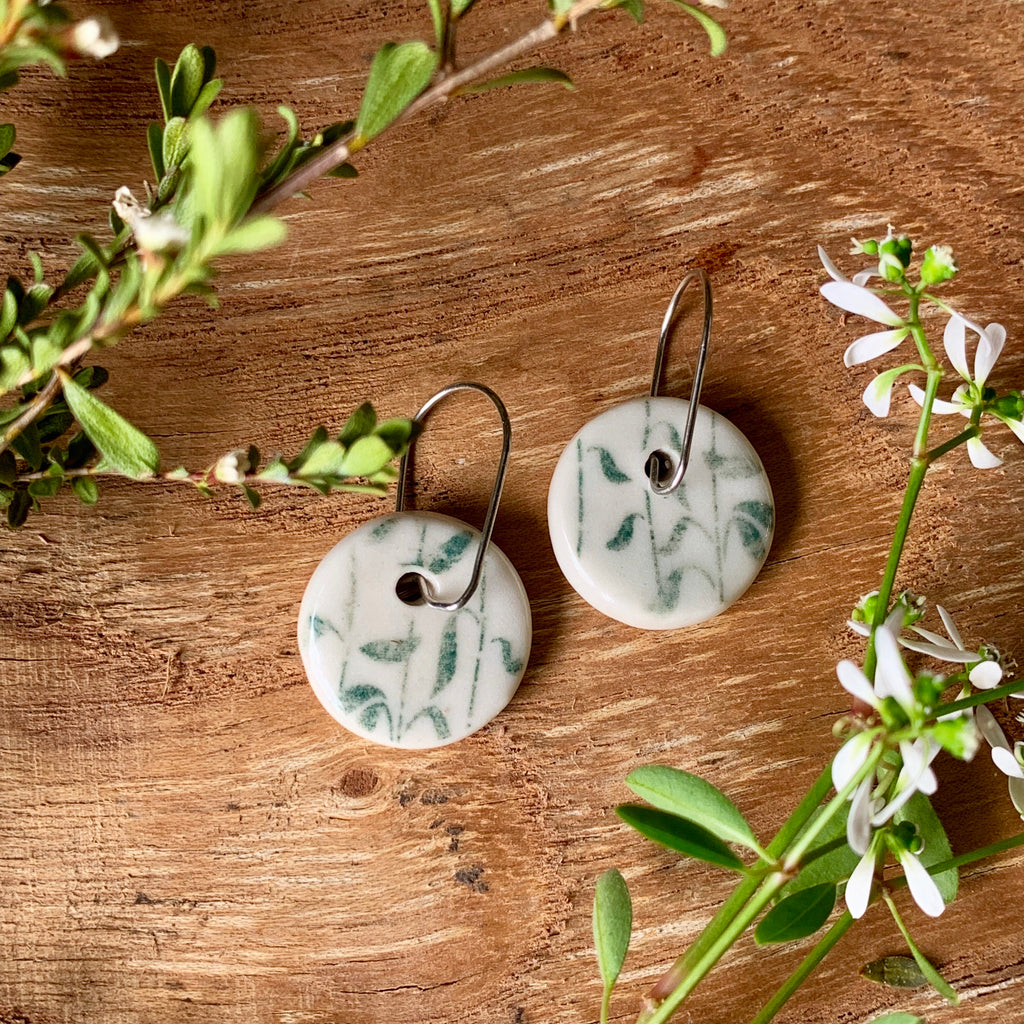 Leaves Waving Green Round Porcelain Dangle Earrings