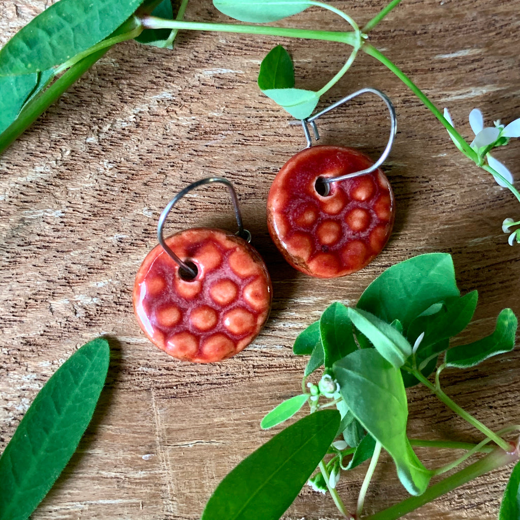 Cinnibar Honeycomb Round Porcelain Dangle Earrings