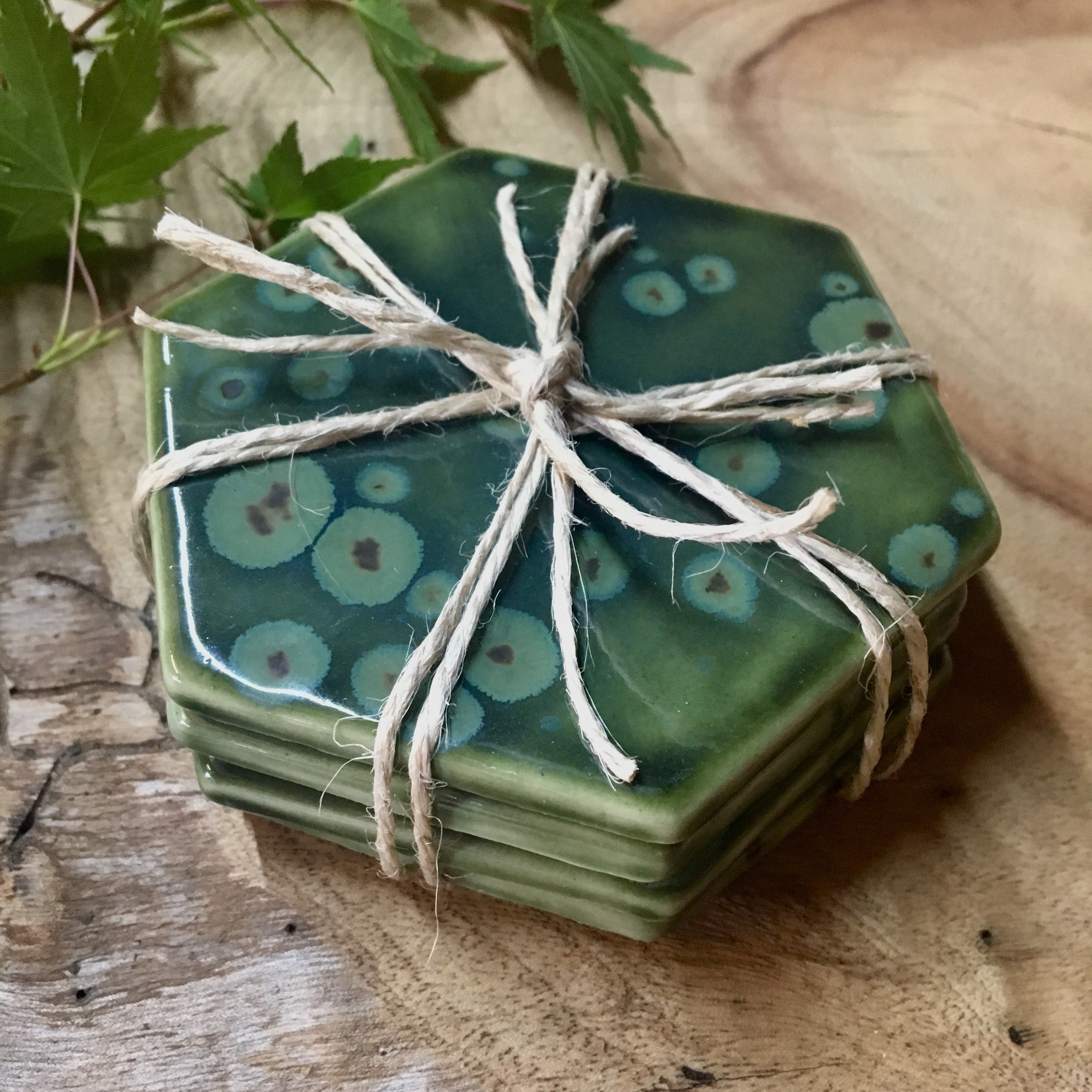 Olive Frost Porcelain Hexagon Coasters