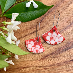 Red Cracked Flower Fan Shape Porcelain Dangle Earrings