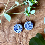Daisy Leaf Round Porcelain Dangle Earrings