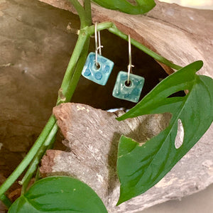 Peacock Tiny Spotty Square Shape Porcelain Dangle Earrings