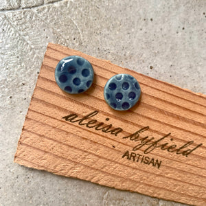 Round Tiny Spotty Coloured Porcelain Stud Earrings