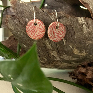 Small Leaves Red Round Stoneware Dangle Earrings