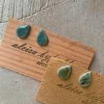 Tear Drop Textured Coloured Porcelain Stud Earrings