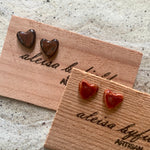 Heart Shaped Textured Coloured Porcelain Stud Earrings