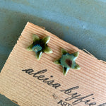Jasmine Flower Coloured Porcelain or Stoneware Stud Earrings