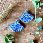 Small Leaves Fan Shape Porcelain Dangle Earrings