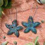 Midnight Rain Jasmine Flower Porcelain Dangle Earrings