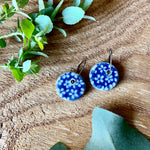 Star Flower Round Porcelain Dangle Earrings
