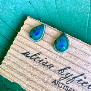 Tear Drop Coloured Porcelain Stud Earrings