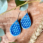 Deep Sea Honeycomb Tear Drop Shape Porcelain Dangle Earrings