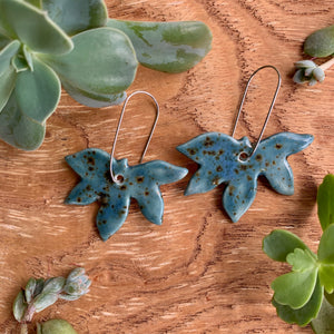 Shipwreck Maple Leaf Porcelain Dangle Earrings