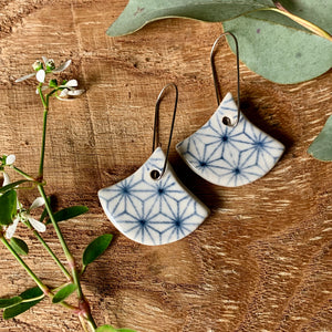 Cubic Fan Shape Porcelain Dangle Earrings
