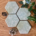 Celadon Bloom Porcelain Hexagon Coasters