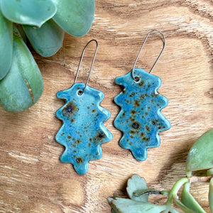 Shipwreck Oak Leaf Porcelain Dangle Earrings