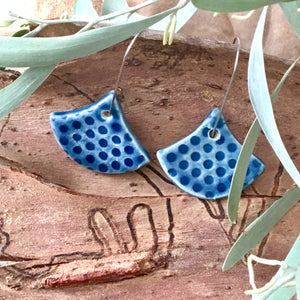 Deep Sea Tiny Spotty Fan Shape Porcelain Dangle Earrings