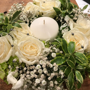 Classic White & Green Table Centrepiece