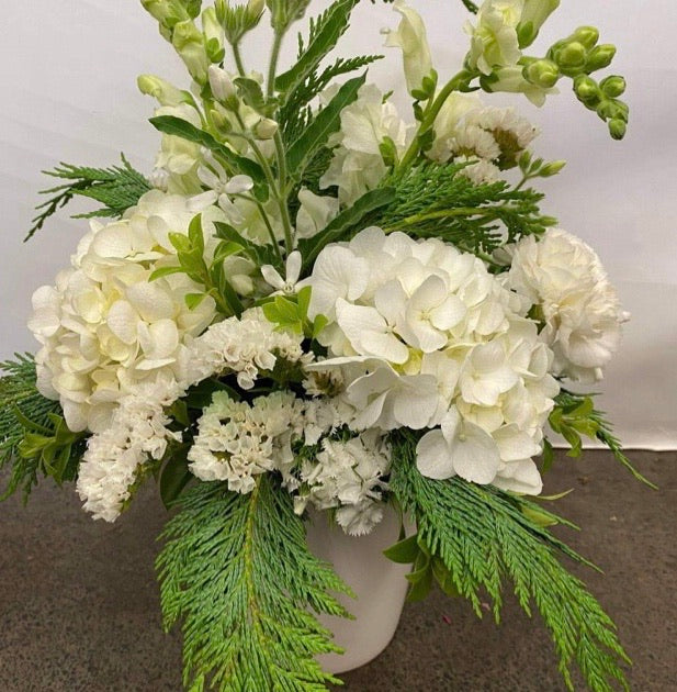 Christmas Pot of Flowers - Whites & Greens