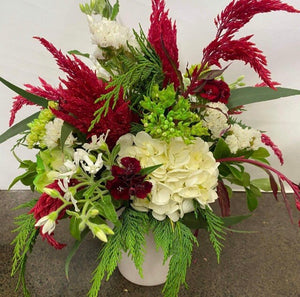 Christmas Pot of Flowers - Red, White & Green