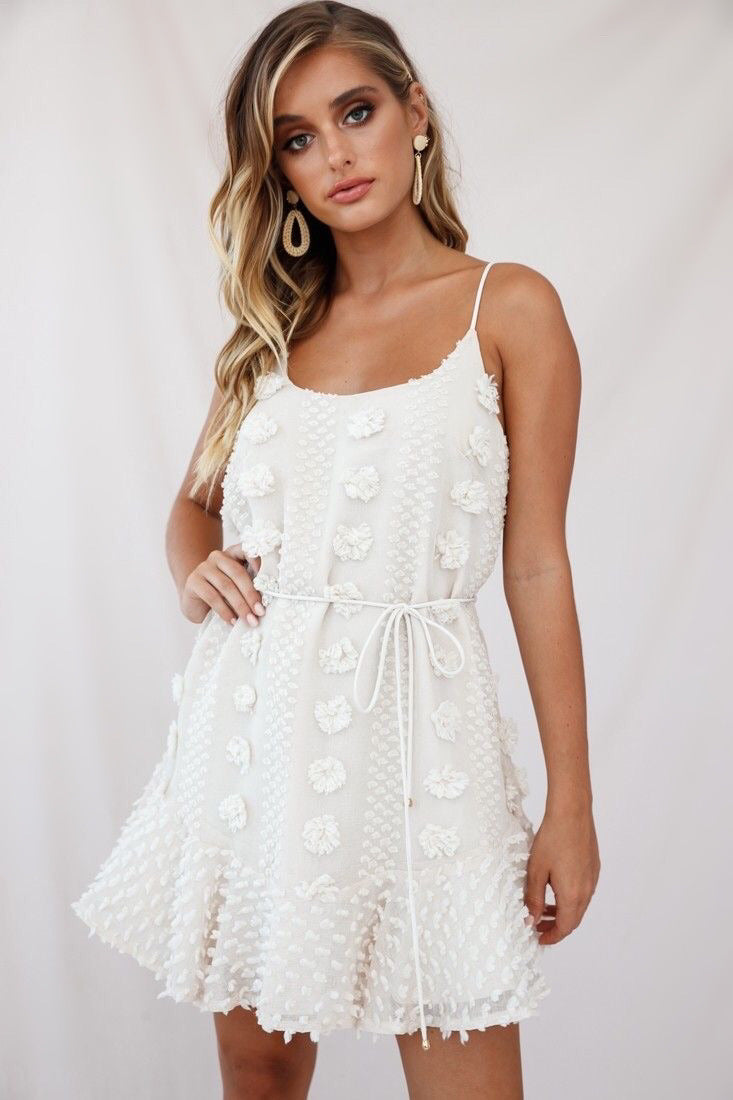 Flower Embroidered Mini Dress Cream