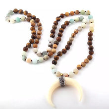 Load image into Gallery viewer, Crescent Horn beaded Necklace