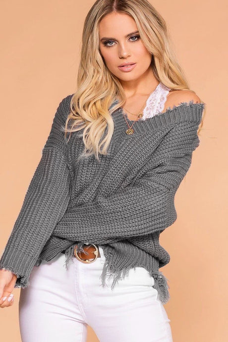 Distressed Knit Sweater / Grey