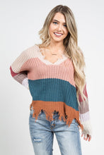 Load image into Gallery viewer, Color Block Distressed Knit Sweater - apricot