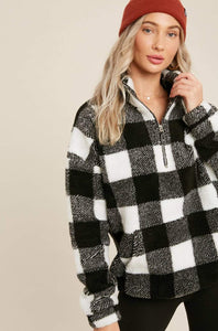 Pretty In Plaid Sherpa Pullover - White