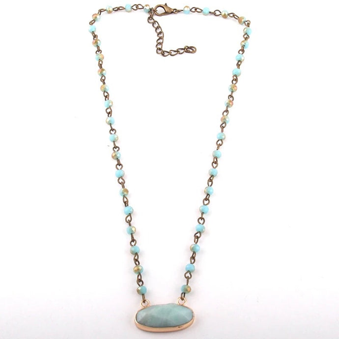 Love Stone Necklace - Light Blue