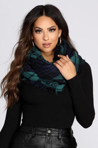 Plaid Blanket Scarf in Hunter Blue