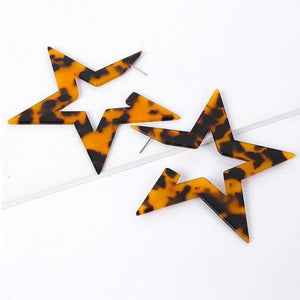 Leopard Star Earrings - Dark