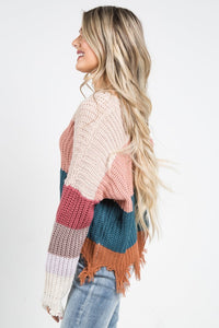 Color Block Distressed Knit Sweater - apricot