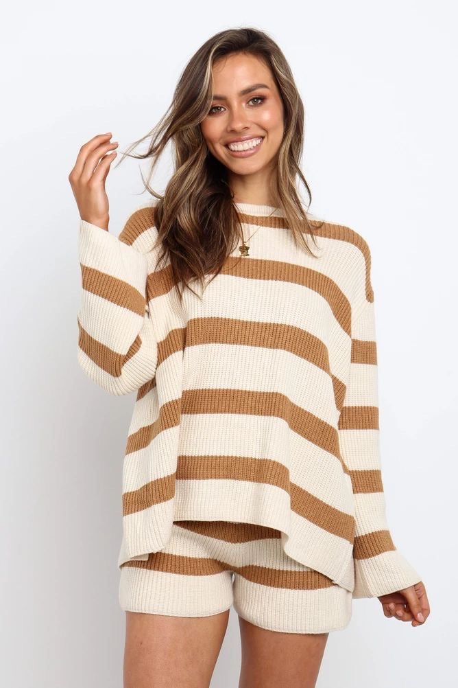 Bring Me Beige Striped Sweater