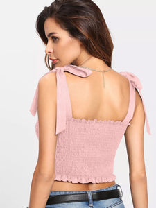 Daisy Strap Ruched Top Pink