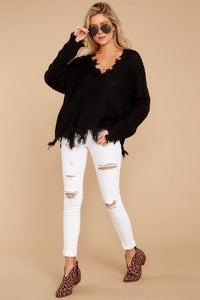 Distressed Knit Sweater / Black
