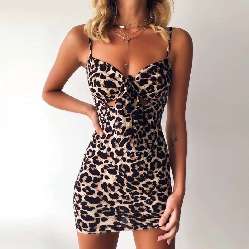 Chelsea Front Knot Leopard Print Mini Dress