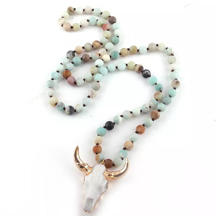Multicolor Amazonite Stone Bull Necklace