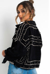 Studded and Faux Gem Denim Jacket / Black