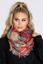 Load image into Gallery viewer, Plaid Blanket Scarf in Camel