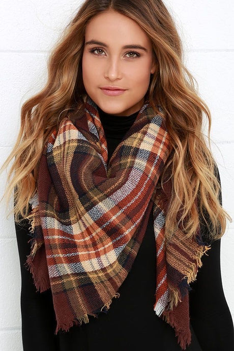 Plaid Blanket Scarf - Mocha