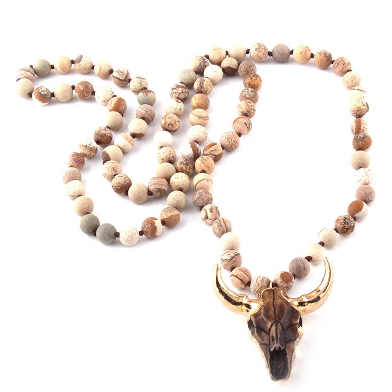 Amazonite Stone Bull Necklace in Desert Dand