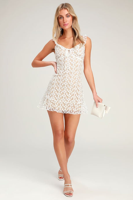 Alison Flower Embroidered Mini Dress