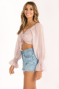 Kelli Smocked Crop Top / Blush