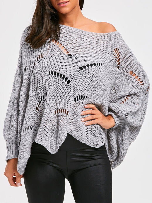 Wavy Pullover poncho Sweater in gray