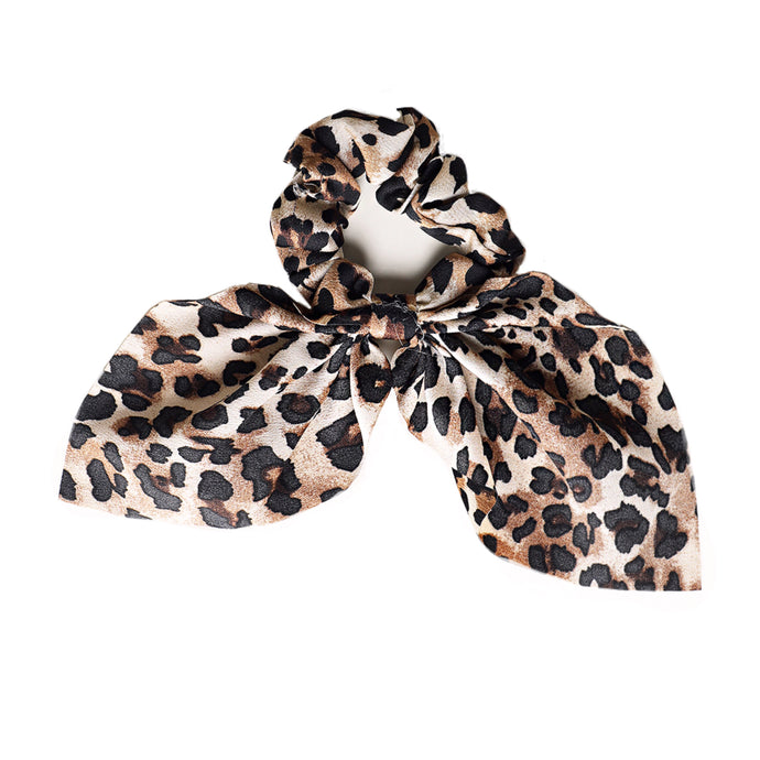 Leopard Print Knotted Bow Scrunchie
